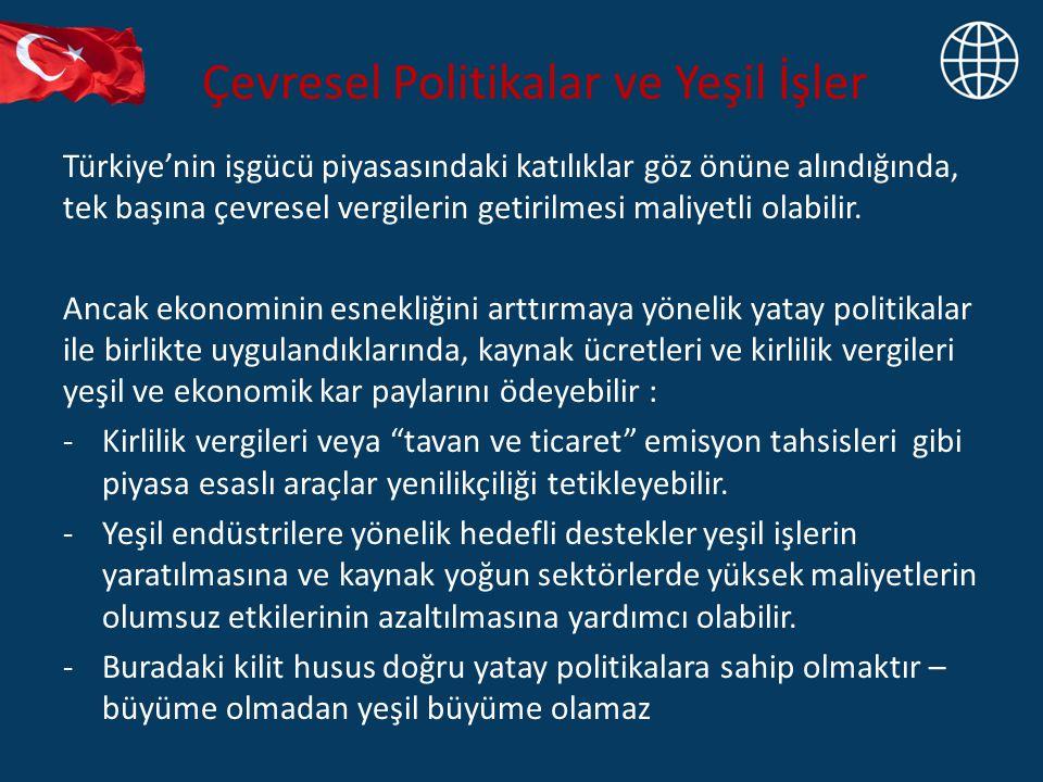 Çevresel Politikalar ve Yeşil İşler Türkiye'nin işgücü piyasasındaki katılıklar göz önüne alındığında, tek başına çevresel vergilerin getirilmesi maliyetli olabilir.
