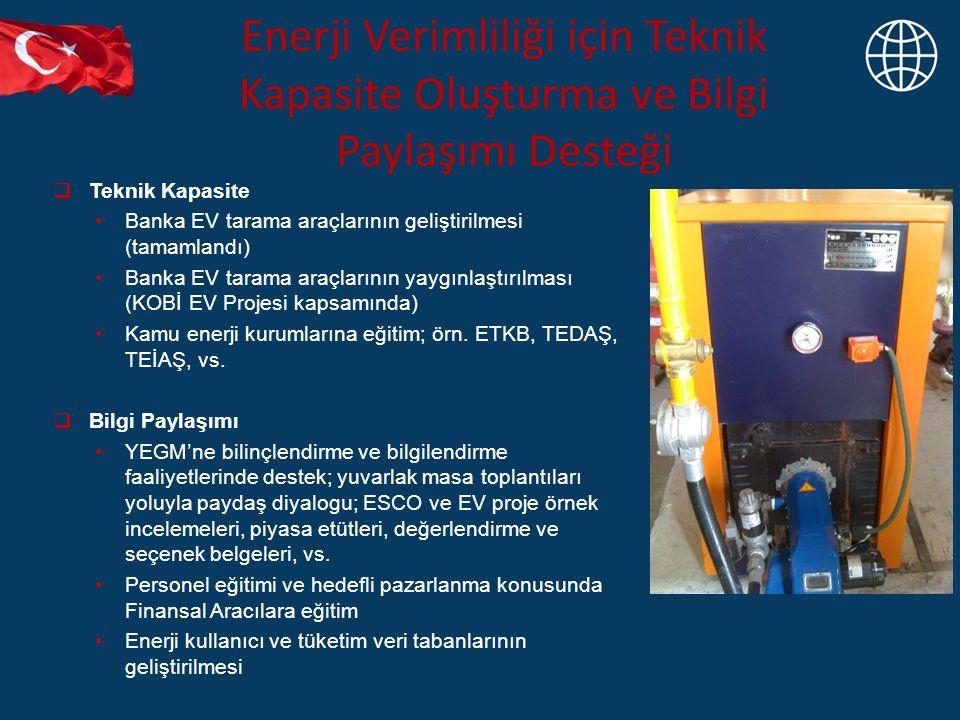 Enerji Verimliliği için Teknik Kapasite Oluşturma ve Bilgi Paylaşımı Desteği  Teknik Kapasite Banka EV tarama araçlarının geliştirilmesi (tamamlandı)