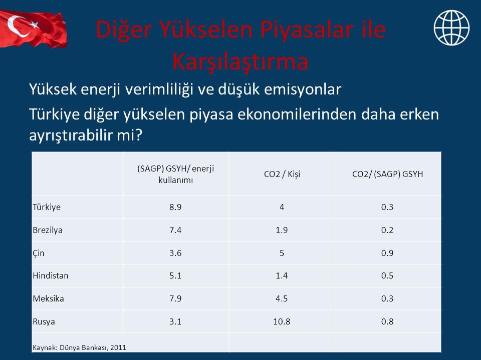 Diğer Yükselen Piyasalar ile Karşılaştırma Yüksek enerji verimliliği ve düşük emisyonlar Türkiye diğer yükselen piyasa ekonomilerinden daha erken ayrı