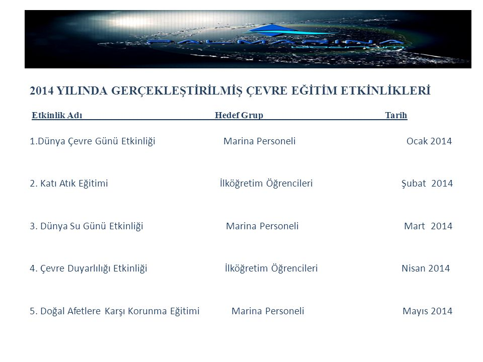 2014 YILINDA GERÇEKLEŞTİRİLMİŞ ÇEVRE EĞİTİM ETKİNLİKLERİ Etkinlik Adı Hedef Grup Tarih 1.Dünya Çevre Günü Etkinliği Marina Personeli Ocak 2014 2. Katı