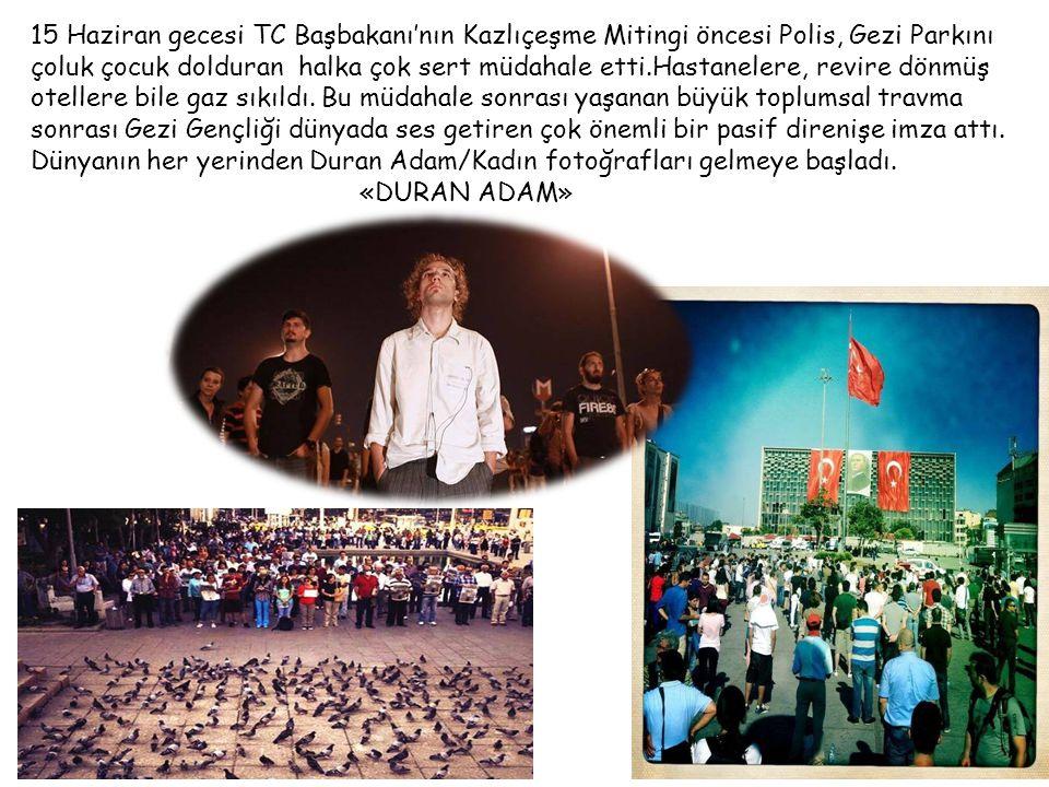 15 Haziran gecesi TC Başbakanı'nın Kazlıçeşme Mitingi öncesi Polis, Gezi Parkını çoluk çocuk dolduran halka çok sert müdahale etti.Hastanelere, revire dönmüş otellere bile gaz sıkıldı.