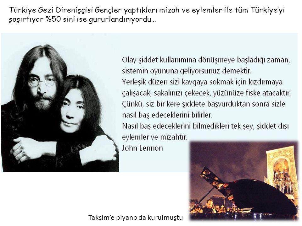 Türkiye Gezi Direnişçisi Gençler yaptıkları mizah ve eylemler ile tüm Türkiye'yi şaşırtıyor %50 sini ise gururlandırıyordu… DİVANDİVAN Taksim'e piyano da kurulmuştu