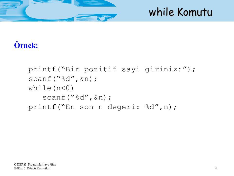 C DERSİ Programlamaya Giriş Bölüm 5 Döngü Komutları 5 while Komutu sayac=1; → İlk değer atama aşaması while(sayac<=10) → Kontrol aşaması { printf( %3d ,sayac); sayac=sayac+1; → Güncelleme aşaması } while Komutunun Aşamaları