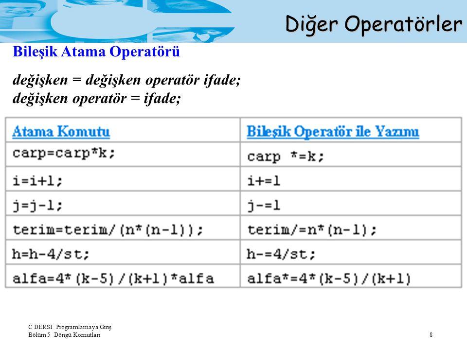 C DERSİ Programlamaya Giriş Bölüm 5 Döngü Komutları 8 Diğer Operatörler Bileşik Atama Operatörü değişken = değişken operatör ifade; değişken operatör