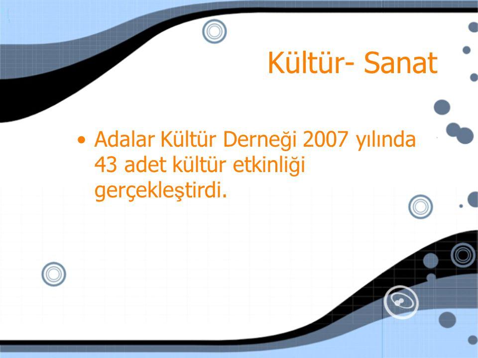 Kültür- Sanat Adalar Kültür Derne ğ i 2007 yılında 43 adet kültür etkinli ğ i gerçekle ş tirdi.