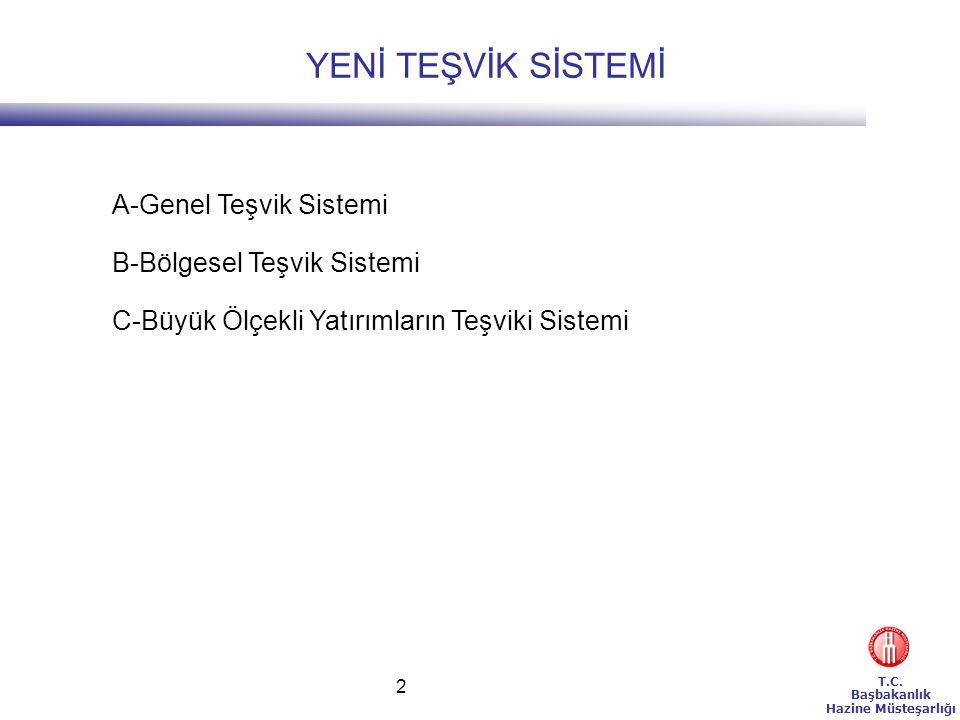 T.C. Başbakanlık Hazine Müsteşarlığı 2 A-Genel Teşvik Sistemi B-Bölgesel Teşvik Sistemi C-Büyük Ölçekli Yatırımların Teşviki Sistemi YENİ TEŞVİK SİSTE
