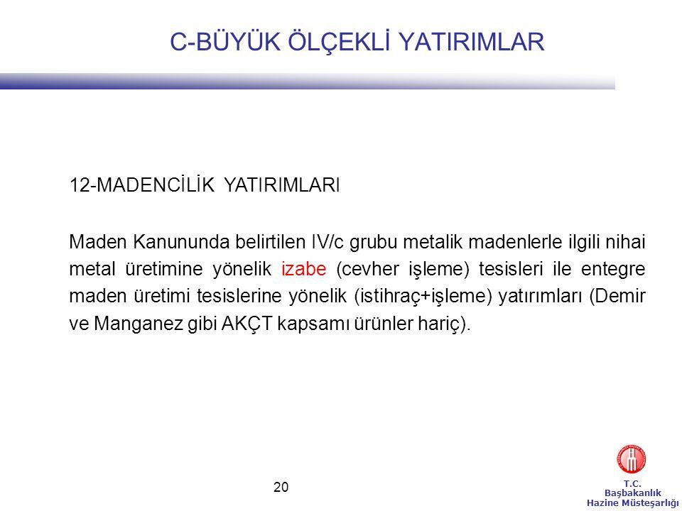 T.C. Başbakanlık Hazine Müsteşarlığı 20 12-MADENCİLİK YATIRIMLARI Maden Kanununda belirtilen IV/c grubu metalik madenlerle ilgili nihai metal üretimin