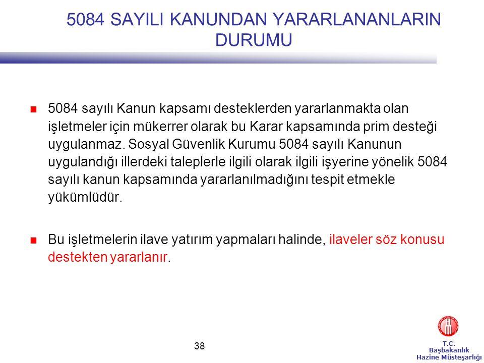 T.C. Başbakanlık Hazine Müsteşarlığı 38 5084 SAYILI KANUNDAN YARARLANANLARIN DURUMU 5084 sayılı Kanun kapsamı desteklerden yararlanmakta olan işletmel