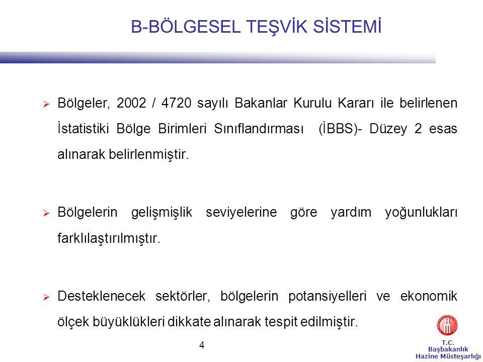 T.C. Başbakanlık Hazine Müsteşarlığı 4  Bölgeler, 2002 / 4720 sayılı Bakanlar Kurulu Kararı ile belirlenen İstatistiki Bölge Birimleri Sınıflandırmas