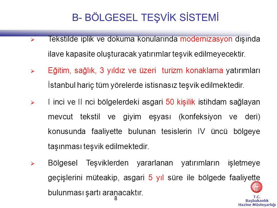 T.C.Başbakanlık Hazine Müsteşarlığı 9 BÖLGESEL TEŞVİK SİSTEMİ İSTİSNALARI(1) 1.
