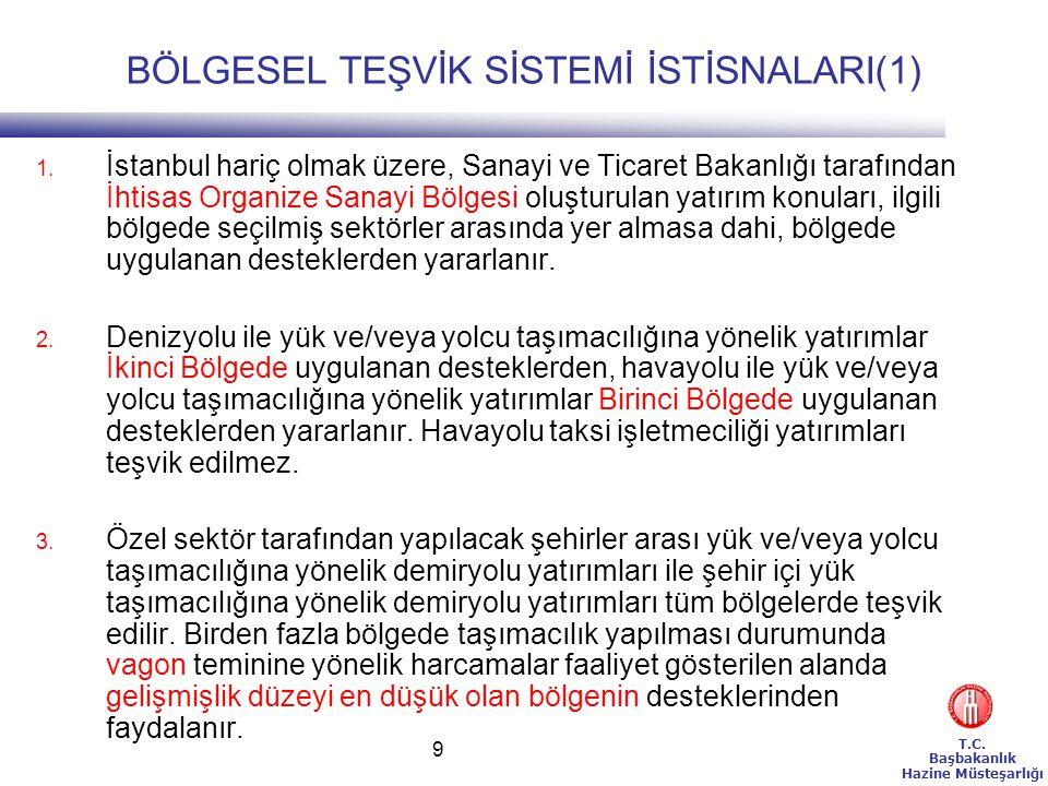 T.C. Başbakanlık Hazine Müsteşarlığı 9 BÖLGESEL TEŞVİK SİSTEMİ İSTİSNALARI(1) 1. İstanbul hariç olmak üzere, Sanayi ve Ticaret Bakanlığı tarafından İh