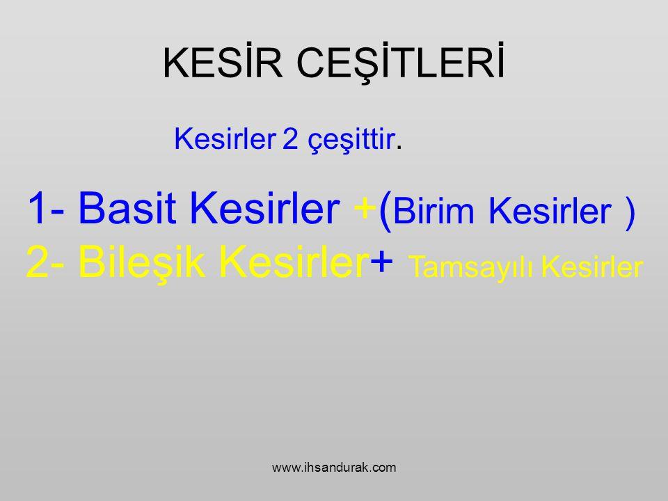 www.ihsandurak.com 1- Basit Kesirler Pay Kesir Çizgisi Payda Payı paydasından küçük olan kesirlere Basit Kesir denir.