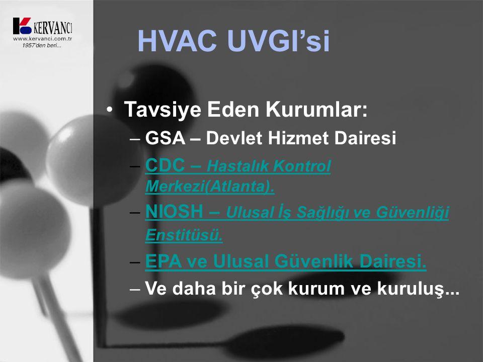 HVAC UVGI'si Tavsiye Eden Kurumlar: –GSA – Devlet Hizmet Dairesi –CDC – Hastalık Kontrol Merkezi(Atlanta).CDC – Hastalık Kontrol Merkezi(Atlanta).