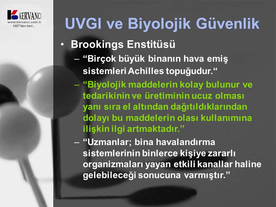 UVGI ve Biyolojik Güvenlik Brookings Enstitüsü – Birçok büyük binanın hava emiş sistemleri Achilles topuğudur. – Biyolojik maddelerin kolay bulunur ve tedarikinin ve üretiminin ucuz olması yanı sıra el altından dağıtıldıklarından dolayı bu maddelerin olası kullanımına ilişkin ilgi artmaktadır. – Uzmanlar; bina havalandırma sistemlerinin binlerce kişiye zararlı organizmaları yayan etkili kanallar haline gelebileceği sonucuna varmıştır.