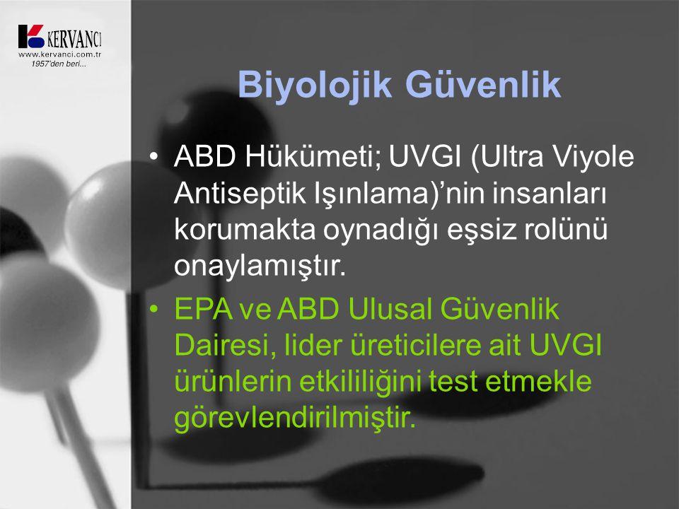 Biyolojik Güvenlik ABD Hükümeti; UVGI (Ultra Viyole Antiseptik Işınlama)'nin insanları korumakta oynadığı eşsiz rolünü onaylamıştır.