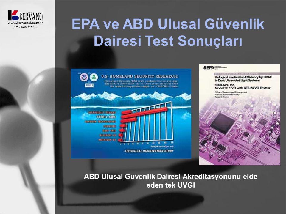 EPA ve ABD Ulusal Güvenlik Dairesi Test Sonuçları ABD Ulusal Güvenlik Dairesi Akreditasyonunu elde eden tek UVGI