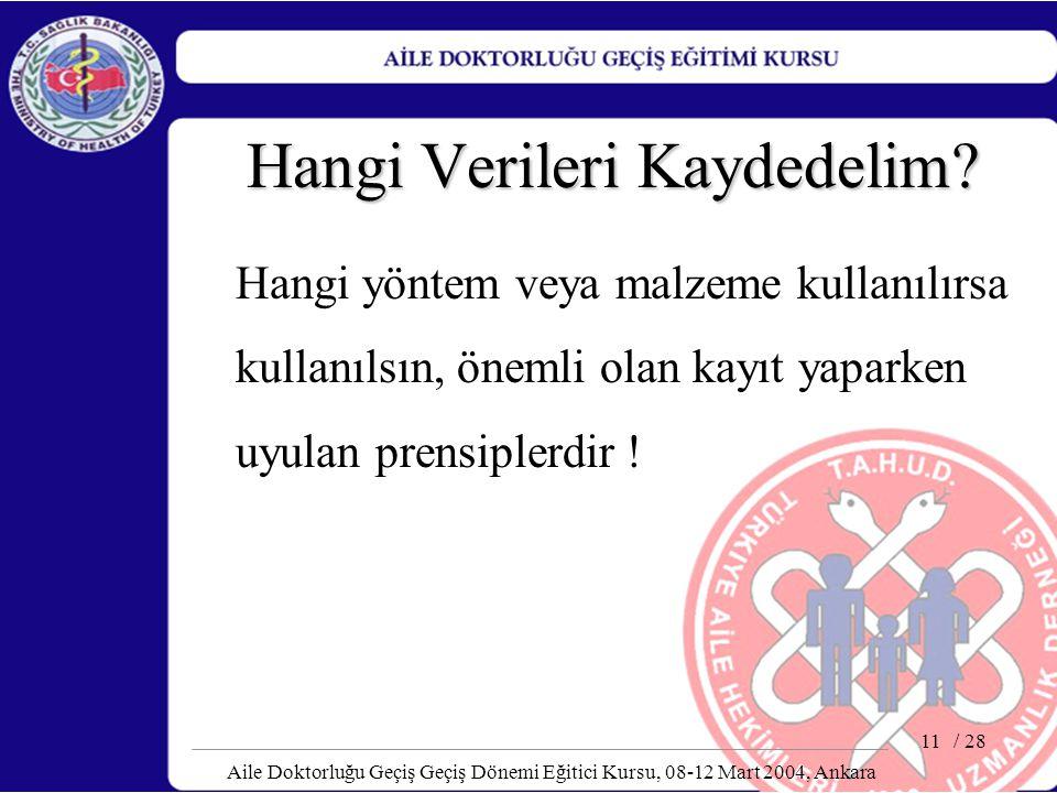 / 28 Aile Doktorluğu Geçiş Geçiş Dönemi Eğitici Kursu, 08-12 Mart 2004, Ankara 11 Hangi Verileri Kaydedelim? Hangi yöntem veya malzeme kullanılırsa ku