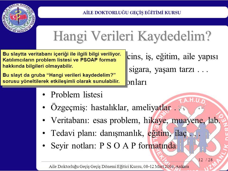 / 28 Aile Doktorluğu Geçiş Geçiş Dönemi Eğitici Kursu, 08-12 Mart 2004, Ankara 12 Hangi Verileri Kaydedelim? Tanıtıcı bilgiler: yaş, cins, iş, eğitim,