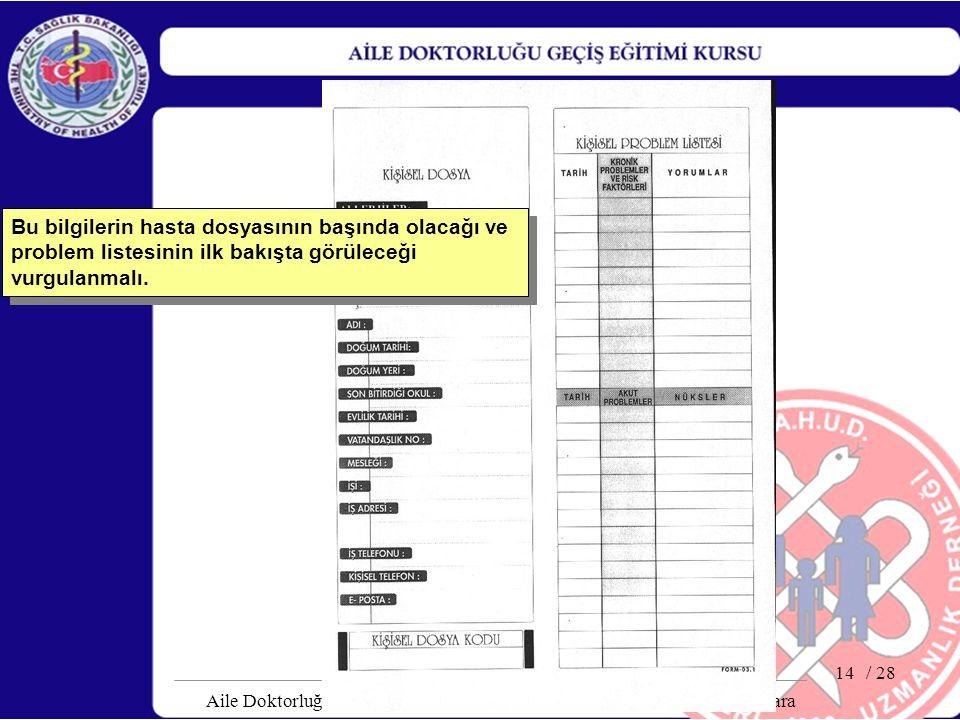 / 28 Aile Doktorluğu Geçiş Geçiş Dönemi Eğitici Kursu, 08-12 Mart 2004, Ankara 14 Bu bilgilerin hasta dosyasının başında olacağı ve problem listesinin