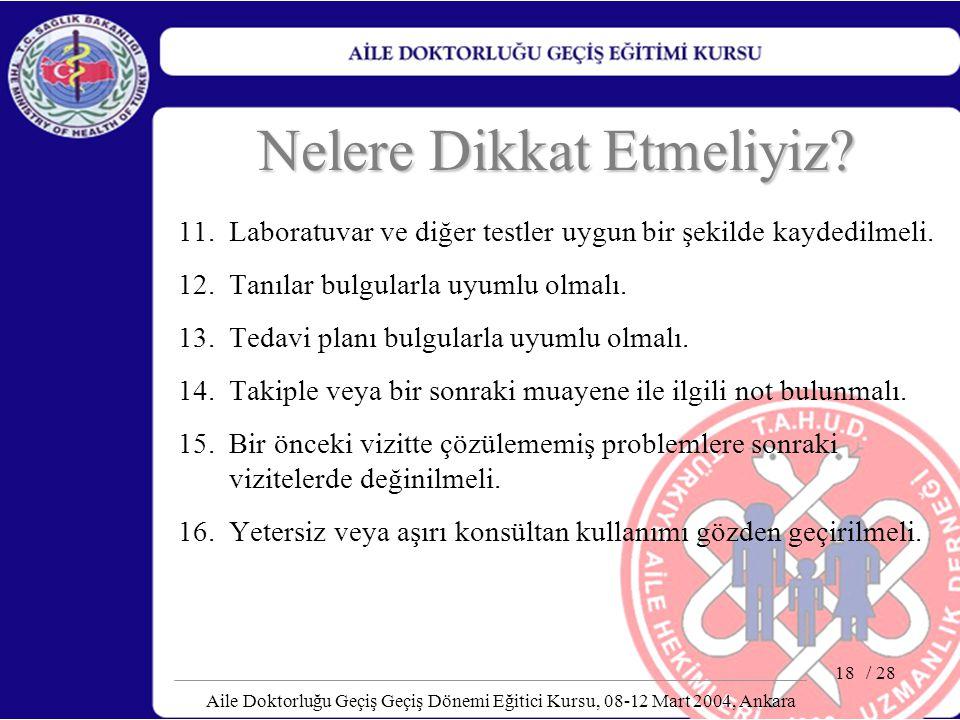 / 28 Aile Doktorluğu Geçiş Geçiş Dönemi Eğitici Kursu, 08-12 Mart 2004, Ankara 18 Nelere Dikkat Etmeliyiz? 11. Laboratuvar ve diğer testler uygun bir