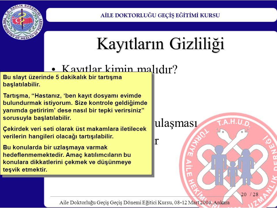 / 28 Aile Doktorluğu Geçiş Geçiş Dönemi Eğitici Kursu, 08-12 Mart 2004, Ankara 20 Kayıtların Gizliliği Kayıtlar kimin malıdır? Çekirdek veri seti Etik