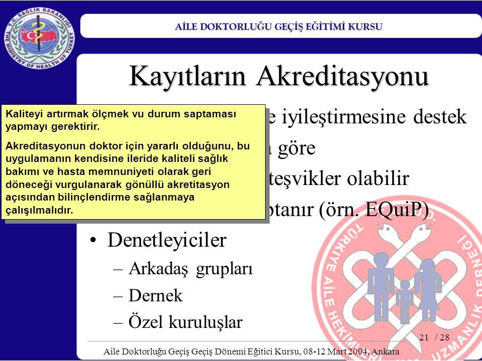 / 28 Aile Doktorluğu Geçiş Geçiş Dönemi Eğitici Kursu, 08-12 Mart 2004, Ankara 21 Kayıtların Akreditasyonu Kalite güvencesi ve iyileştirmesine destek