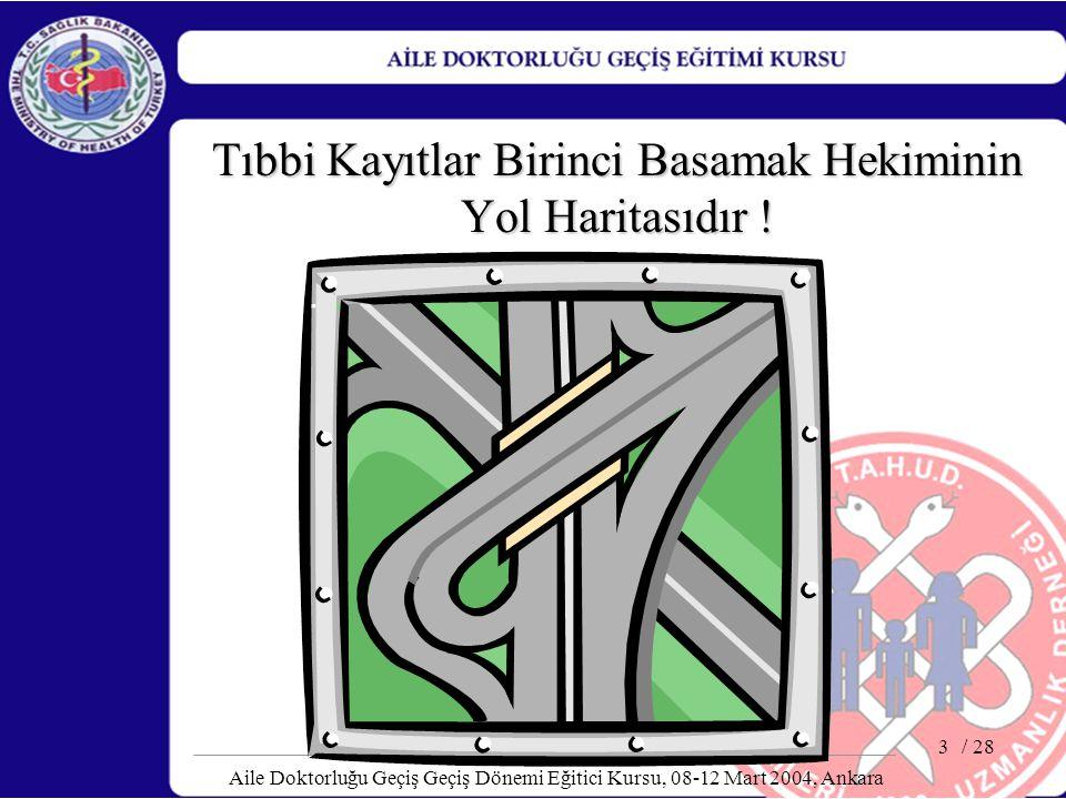 / 28 Aile Doktorluğu Geçiş Geçiş Dönemi Eğitici Kursu, 08-12 Mart 2004, Ankara 4 Amaç Bu sunumun sonunda katılımcıların tıbbi kayıt tutma hakkında bilgilenmeleri ve tıbbi kayıt tutmanın önemini kavramaları amaçlanmaktadır.