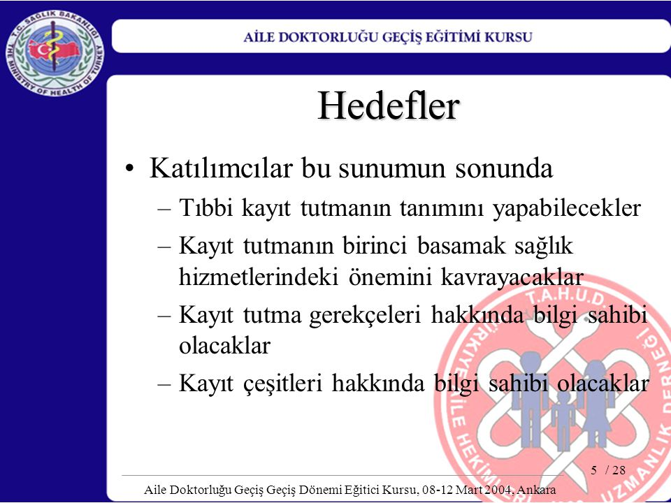 / 28 Aile Doktorluğu Geçiş Geçiş Dönemi Eğitici Kursu, 08-12 Mart 2004, Ankara 5 Hedefler Katılımcılar bu sunumun sonunda –Tıbbi kayıt tutmanın tanımı
