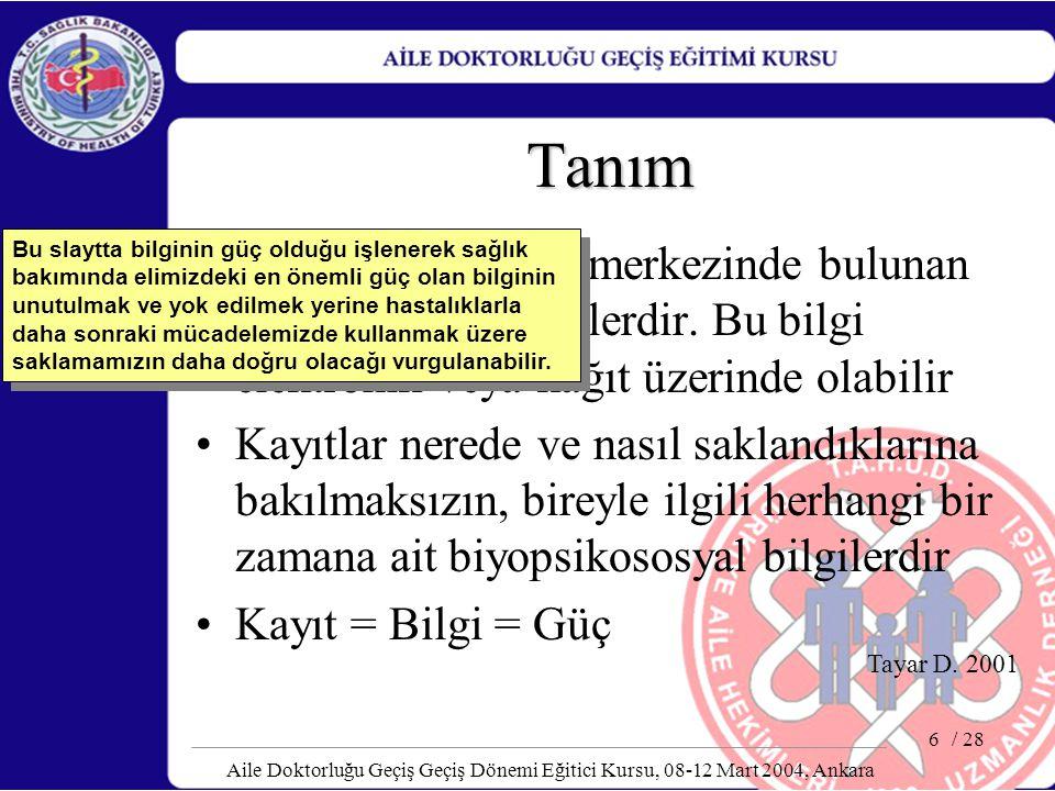 / 28 Aile Doktorluğu Geçiş Geçiş Dönemi Eğitici Kursu, 08-12 Mart 2004, Ankara 6 Tanım Kayıtlar bir sağlık merkezinde bulunan hastayla ilgili bilgiler