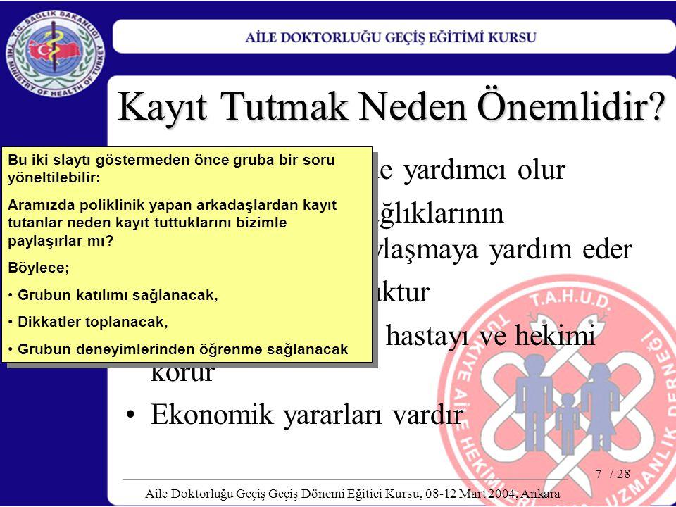 / 28 Aile Doktorluğu Geçiş Geçiş Dönemi Eğitici Kursu, 08-12 Mart 2004, Ankara 8 Kayıt Tutmak Neden Önemlidir.