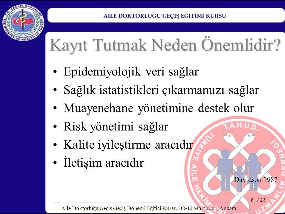 / 28 Aile Doktorluğu Geçiş Geçiş Dönemi Eğitici Kursu, 08-12 Mart 2004, Ankara 8 Kayıt Tutmak Neden Önemlidir? Epidemiyolojik veri sağlar Sağlık istat