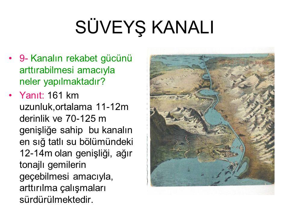 SÜVEYŞ KANALI 9- Kanalın rekabet gücünü arttırabilmesi amacıyla neler yapılmaktadır.