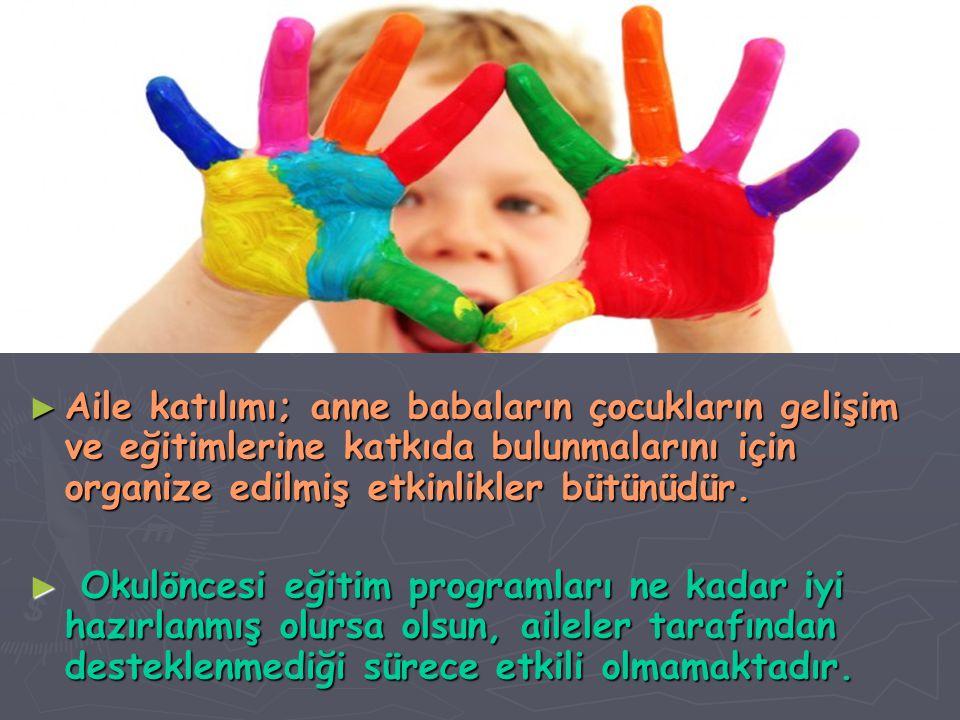 ► Aile katılımı; anne babaların çocukların gelişim ve eğitimlerine katkıda bulunmalarını için organize edilmiş etkinlikler bütünüdür. ► ► Okulöncesi e
