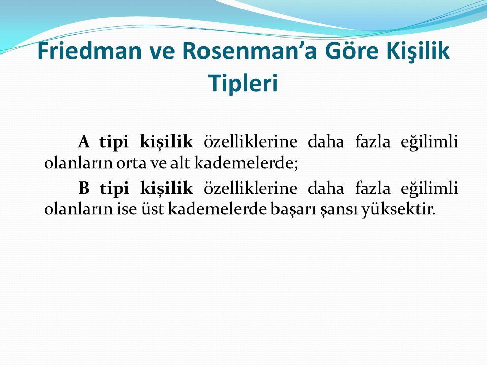 Friedman ve Rosenman'a Göre Kişilik Tipleri A tipi kişilik özelliklerine daha fazla eğilimli olanların orta ve alt kademelerde; B tipi kişilik özellik