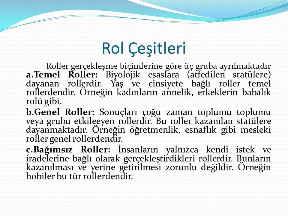 Rol Çeşitleri Roller gerçekleşme biçimlerine göre üç gruba ayrılmaktadır a.Temel Roller: Biyolojik esaslara (atfedilen statülere) dayanan rollerdir. Y