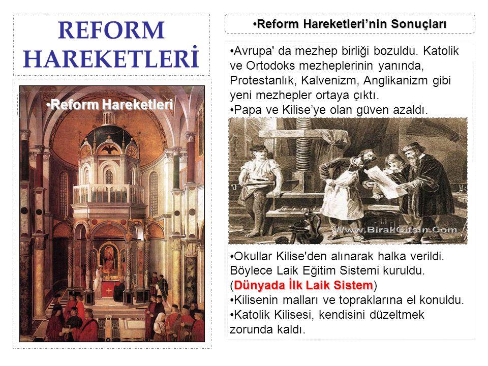 REFORM HAREKETLERİ Reform Hareketleri'nin SonuçlarıReform Hareketleri'nin SonuçlarıReform Hareketleri'nin SonuçlarıReform Hareketleri'nin Sonuçları Av