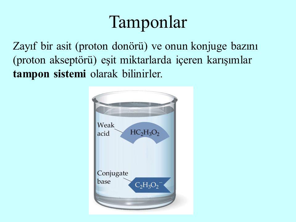 Zayıf bir asit (proton donörü) ve onun konjuge bazını (proton akseptörü) eşit miktarlarda içeren karışımlar tampon sistemi olarak bilinirler. Tamponla