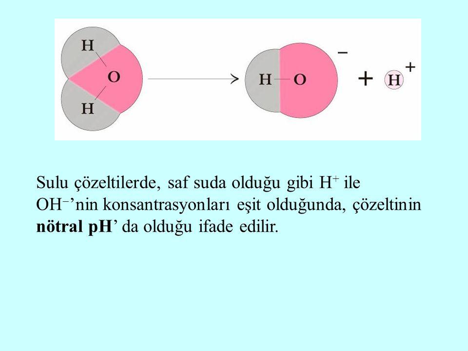 Sulu çözeltilerde, saf suda olduğu gibi H + ile OH  'nin konsantrasyonları eşit olduğunda, çözeltinin nötral pH' da olduğu ifade edilir.