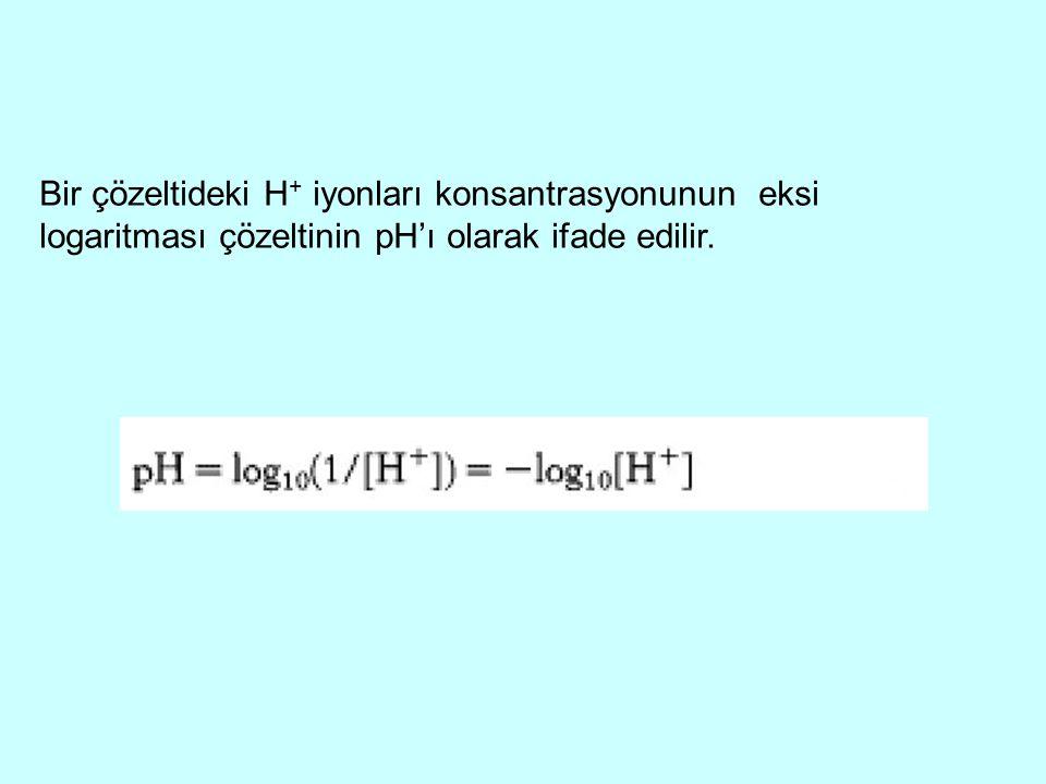 Bir çözeltideki H + iyonları konsantrasyonunun eksi logaritması çözeltinin pH'ı olarak ifade edilir.