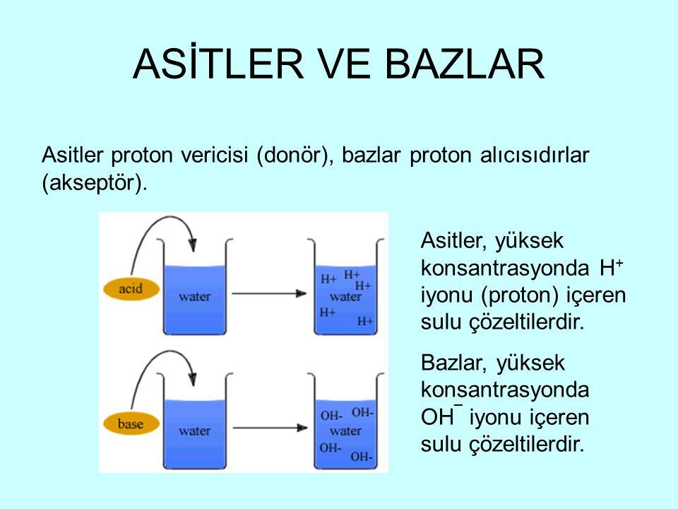 ASİTLER VE BAZLAR Asitler proton vericisi (donör), bazlar proton alıcısıdırlar (akseptör). Asitler, yüksek konsantrasyonda H + iyonu (proton) içeren s