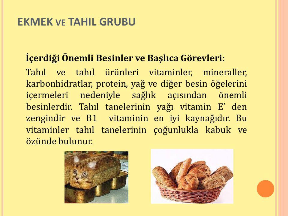 EKMEK VE TAHIL GRUBU İçerdiği Önemli Besinler ve Başlıca Görevleri: Tahıl ve tahıl ürünleri vitaminler, mineraller, karbonhidratlar, protein, yağ ve d