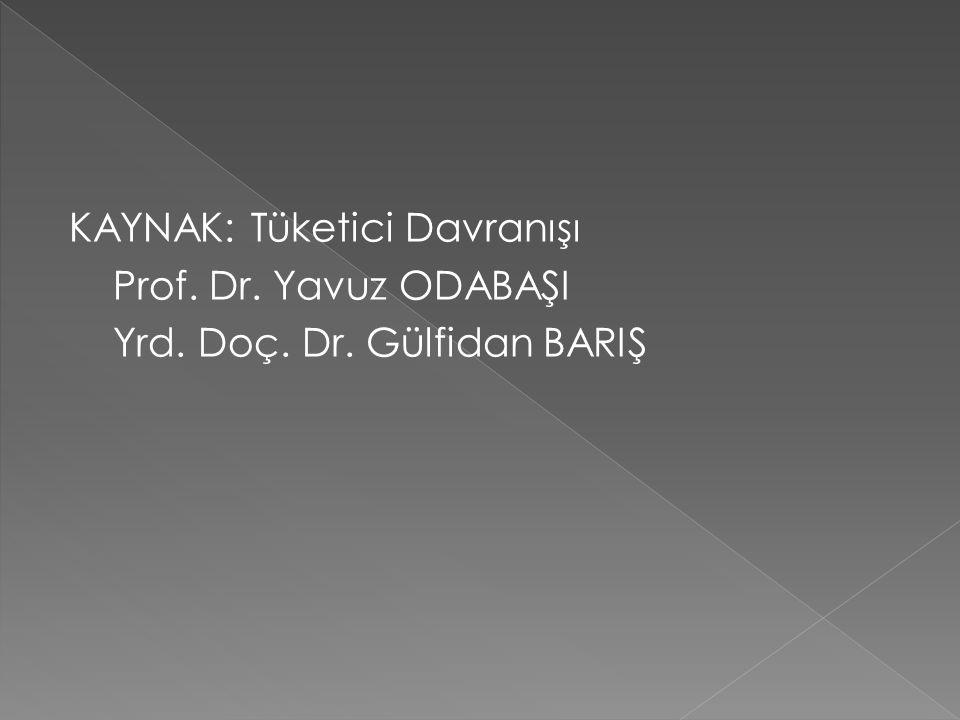 KAYNAK: Tüketici Davranışı Prof. Dr. Yavuz ODABAŞI Yrd. Doç. Dr. Gülfidan BARIŞ
