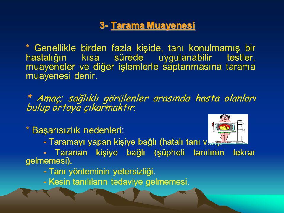 3- Tarama Muayenesi 3- Tarama Muayenesi * Genellikle birden fazla kişide, tanı konulmamış bir hastalığın kısa sürede uygulanabilir testler, muayeneler ve diğer işlemlerle saptanmasına tarama muayenesi denir.