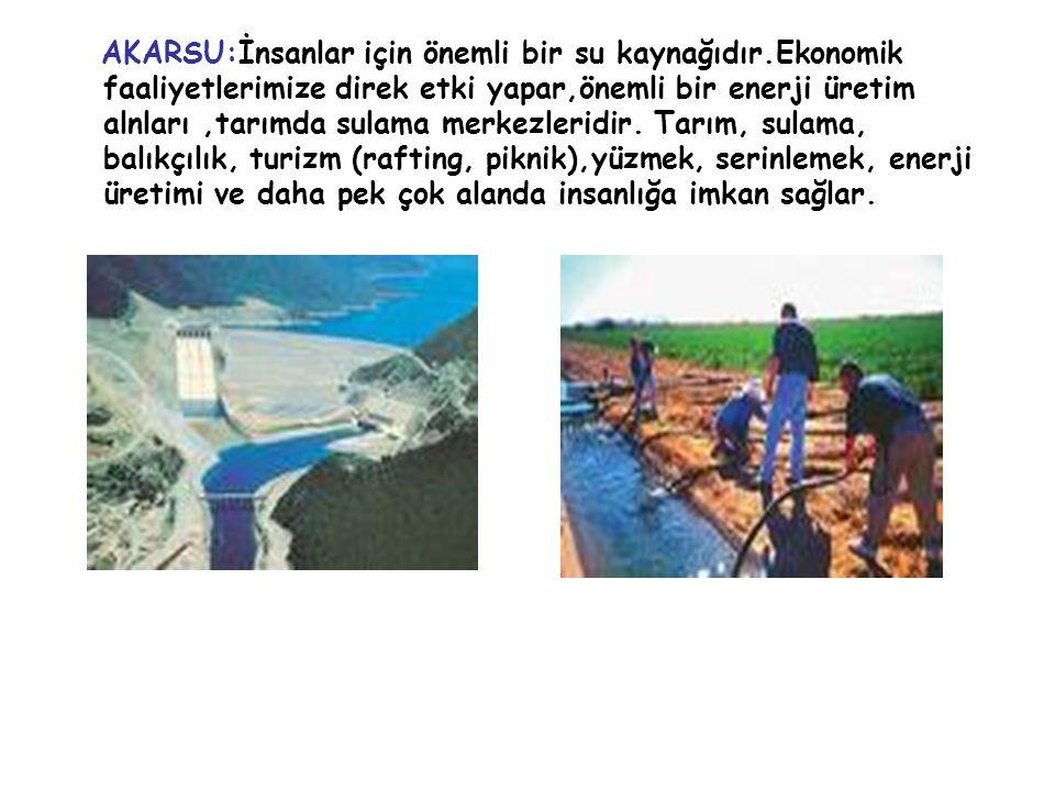 AKARSU:İnsanlar için önemli bir su kaynağıdır.Ekonomik faaliyetlerimize direk etki yapar,önemli bir enerji üretim alnları,tarımda sulama merkezleridir