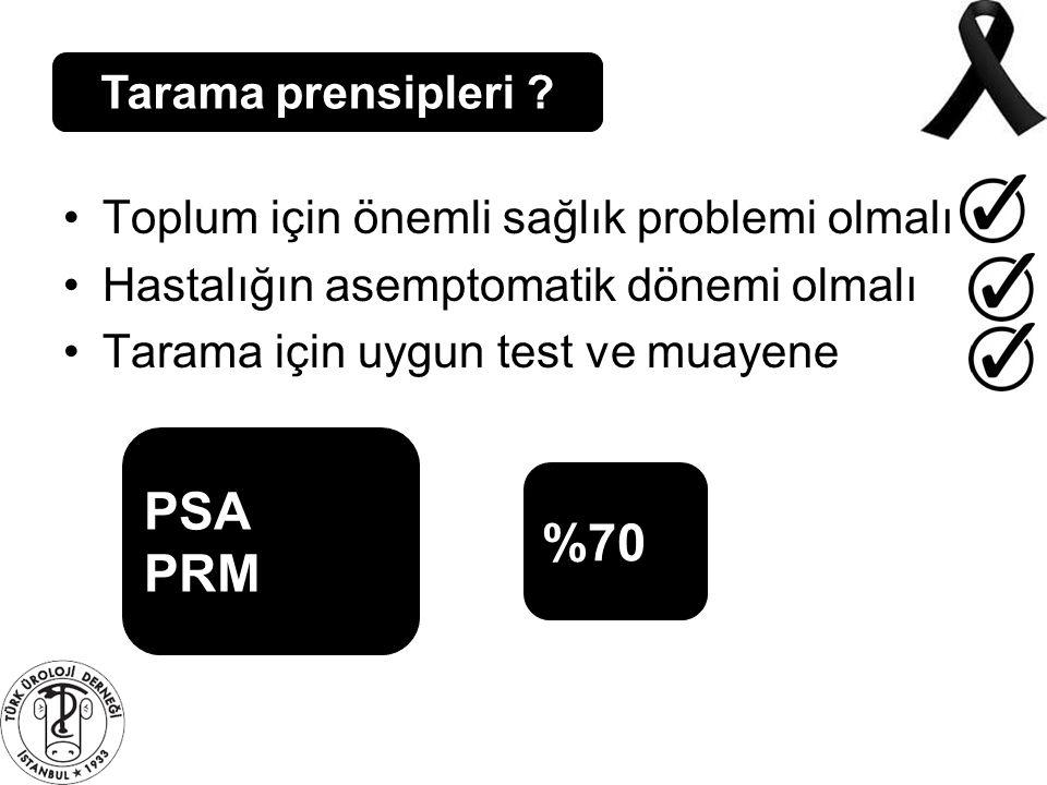 Tarama prensipleri ? Toplum için önemli sağlık problemi olmalı Hastalığın asemptomatik dönemi olmalı Tarama için uygun test ve muayene PSA PRM %70