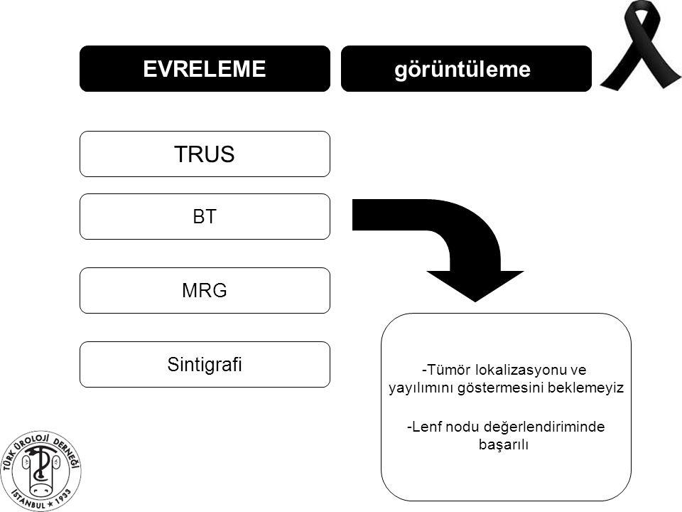 EVRELEME TRUS BT MRG görüntüleme Sintigrafi -Tümör lokalizasyonu ve yayılımını göstermesini beklemeyiz -Lenf nodu değerlendiriminde başarılı