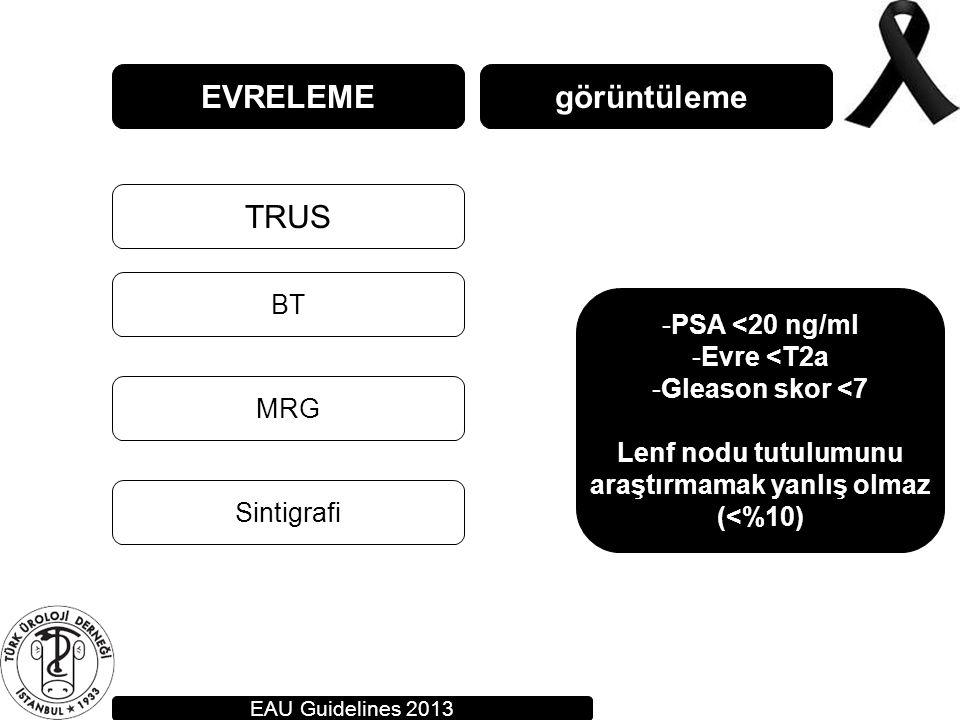 EVRELEME TRUS BT MRG görüntüleme Sintigrafi EAU Guidelines 2013 -PSA <20 ng/ml -Evre <T2a -Gleason skor <7 Lenf nodu tutulumunu araştırmamak yanlış ol