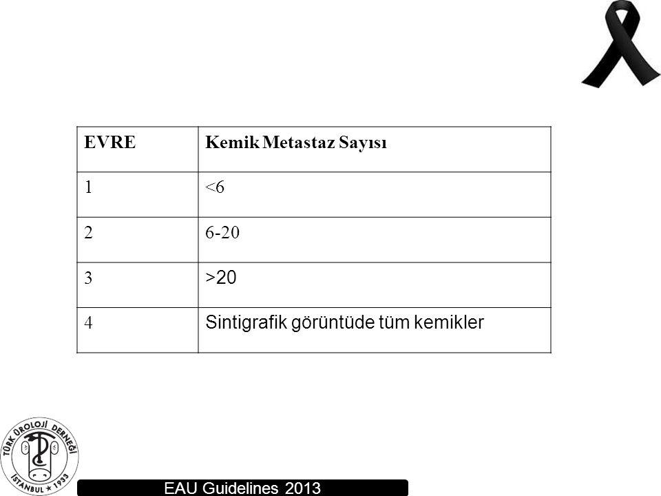 EAU Guidelines 2013 EVREKemik Metastaz Sayısı 1<6 26-20 3 >20 4 Sintigrafik görüntüde tüm kemikler