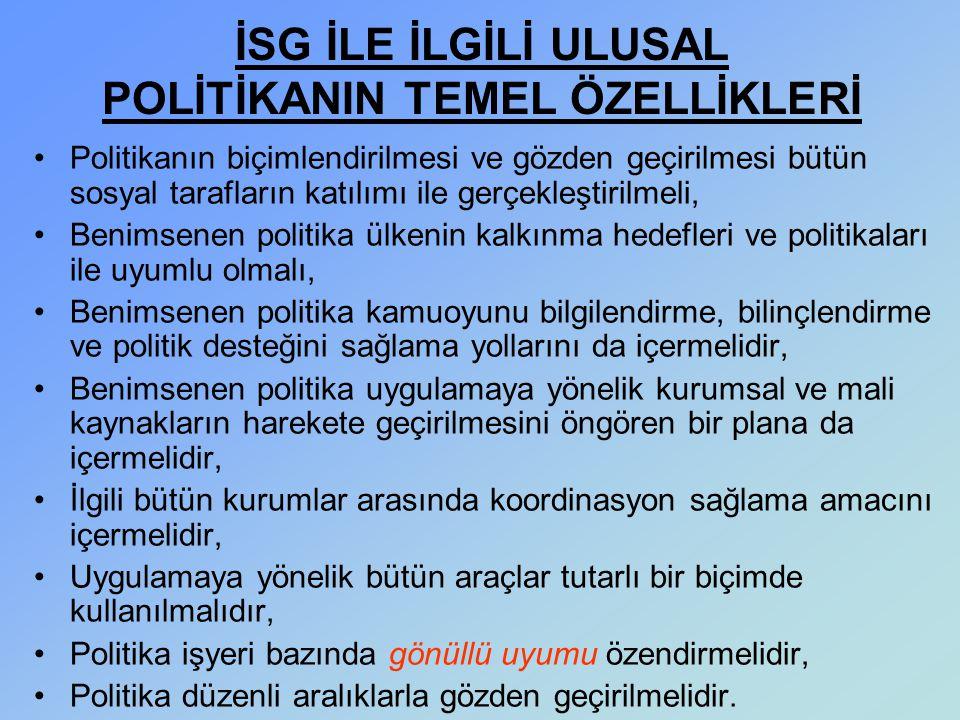 İSG İLE İLGİLİ ULUSAL POLİTİKANIN TEMEL ÖZELLİKLERİ Politikanın biçimlendirilmesi ve gözden geçirilmesi bütün sosyal tarafların katılımı ile gerçekleş