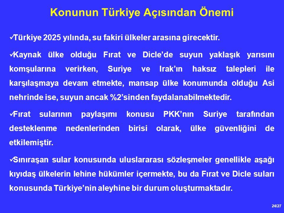 24/27 Konunun Türkiye Açısından Önemi Türkiye 2025 yılında, su fakiri ülkeler arasına girecektir. Kaynak ülke olduğu Fırat ve Dicle'de suyun yaklaşık
